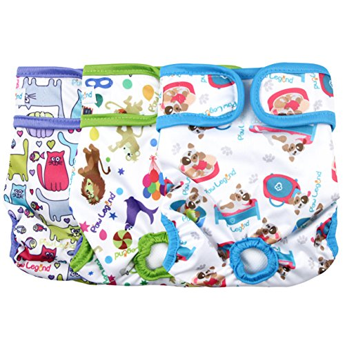 Paw Legend Reusable Female Dog Diapers(3 Pack,Adorable,Medium)