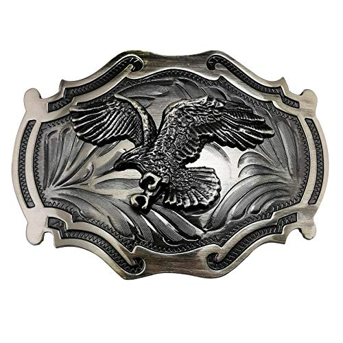 (Lanxy Vintage Retro Native American Grey Big Eagle Belt Buckle For Men)