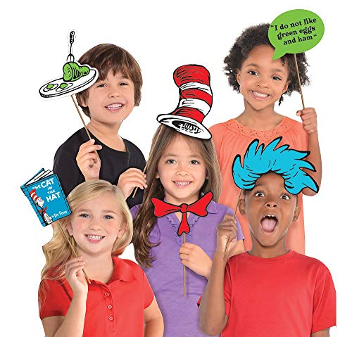 Costumes USA Dr. Seuss Photo Booth Props, Birthday Party Supplies, 13 Count ()