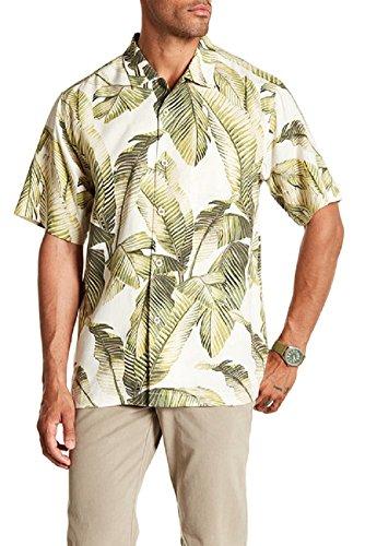 Bahama 100% Silk Shirt - Tommy Bahama Cascara Fronds Silk Camp Shirt (Color Coconut Cream, Size XL)