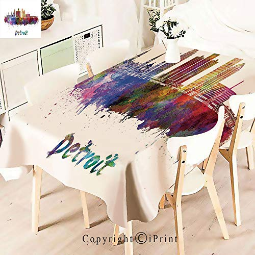 (Durable Rectangle Tablecloth Print Table Cover for Home and Party Decoration,Skyline in Watercolor Splatters Colorful Grunge,Indoor Outdoor Party Picnic Easy Care Washable Table Cloth,W55 xL55,Multi)