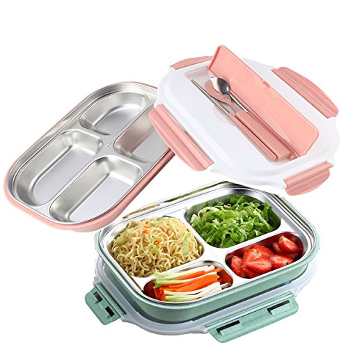 Bento Lunch Box Set, Mr.Dakai Stainless Steel Food Container with Spoon and Chopsticks for Kids Adult, Non-toxic Tasteless safety - Dishwasher Microwave Safe (Pink)