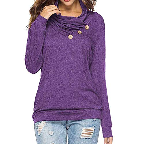 Sunhusing Ladies Roll Neck Solid Color Long Sleeve Irregular Button T-Shirt Cowl Neck Tunic Sweatshirt Tops Purple (Smock Tunic Detail)