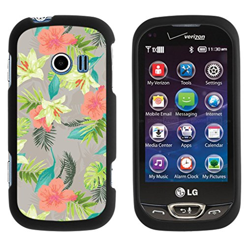 (TurtleArmor | LG Extravert 2 Case | VN280 [Slim Duo] Slim Snap On 2 Piece Hard Cover Protector Rubberized Coating with Unique Designs on Black - Hawaiian Flowers)