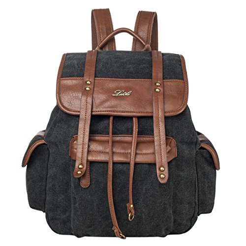 Lacle LA-063 Vintage Backpack Schoolbag Rucksack Knapsack for Men and Women(Black)
