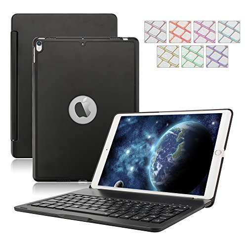 Pro Aluminum Hard Case (D DINGRICH 2018 iPad 9.7/2017 iPad 9.7 Keyboard Case,Dingrich 7 Color Backlit Aluminum Hard Shell Bluetooth Keyboard Case for iPad 5th and 6th Generation (NOT for iPad Pro 9.7) (Black))