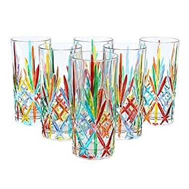 BICCHIERI MELODIA Drink Glasses Crystal Hand Painted Traditional Technique Colors Venice