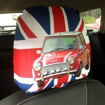 CAR SEAT HEAD REST COVERS 2 PACK UNION JACK MINI COOPER DESIGN MADE IN YORKSHIRE