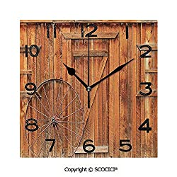 SCOCICI 8 inch Square Clock Ancient West Rural Town Rustic Weathered Wooden Wall Door Wagon Wheel in Front Image Unique Wall Clock-for Living Room, Bedroom or Kitchen Use