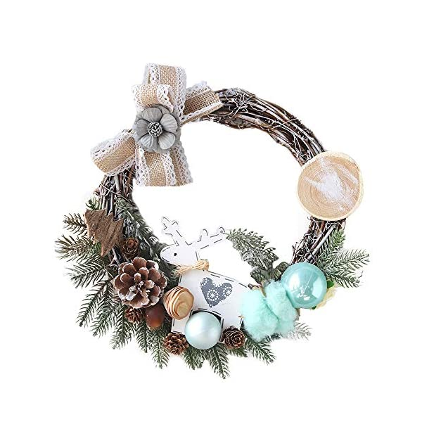Transer- Pine Chrysanthemum Fall Front Door Wreath, 12 Inches Decorative Leaves & Flowers, Merry Christmas Party Door Wall Garland Decoration (B)