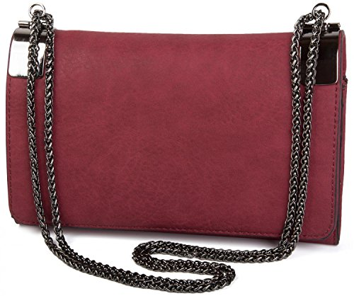 02012046 metal coil clasp clutch and plain chain with styleBREAKER Color Claret Taupe vintage evening red ladies bag design BqOIUCw