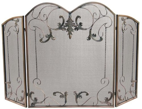 Scroll Design Fireplace Screen (UniFlame 3-Fold Venetian Bronze Screen with Leaf Scrolls)