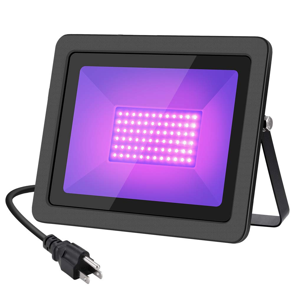 WELKEY PLUS 80W UV Black Lights with Plug(6ft Cable), IP66 Waterproof Ultra Violet LED Flood Blacklight for Party Supplies, Stage Lighting, Body Paint, Fluorescent Poster, Neon Glow in The Dark