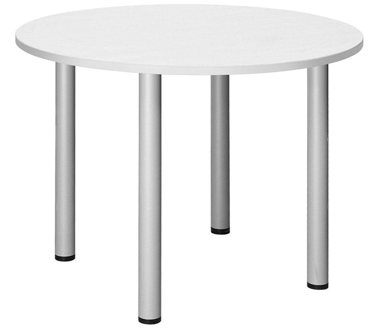 Office Hippo Fraction Plus Circular Meeting Table, 100 cm - White/Silver ZFPCMT10D/WHT