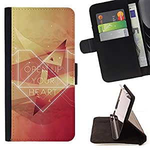 BullDog Case - FOR/Apple Iphone 5C / - / Open Up Your Heart Hipster /- Monedero de cuero de la PU Llevar cubierta de la caja con el ID Credit Card Slots Flip funda de cuer