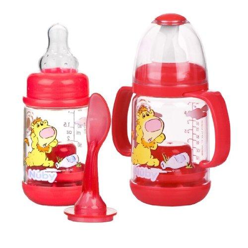 Nuby 2 Pack Nurtur Care Infa Feeder Set, 4 Oz Infant Feeder RED