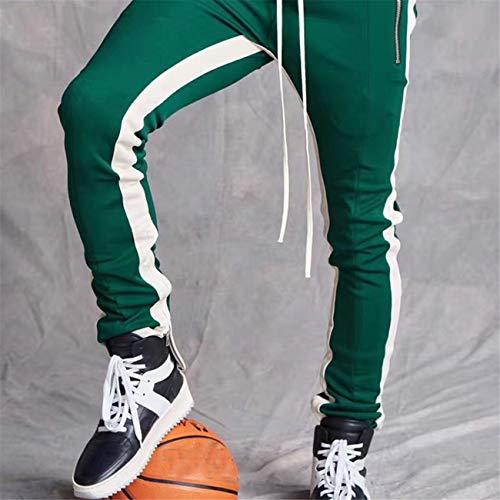 Ropa Hombre Skinny De Entrenamiento Pantalón Invierno Hcfkj Rayas Deportivo Verde Casual Slim Fit B56wZ