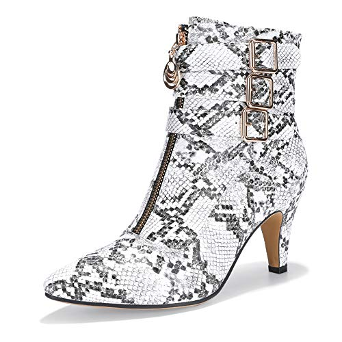 Snake Print Buckle - IDIFU Women's Amanda-C Pointed Toe Buckle Strap Ankle Booties Medium Chunky Heel Short Boots with Zipper (Snake White, 8 M US)