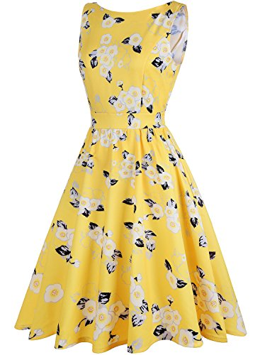 with 1950s Women's Butterfly amp;white Vintage Cocktail Floral Dress Pattern Swing Party OWIN Yellow 8TCqC