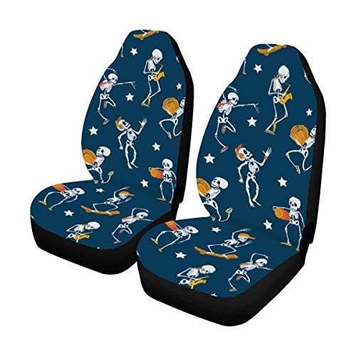 INTERESTPRINT Dancing and Skateboarding Skeletons Haloween Car Seat Cover Front Seats Only Full Set of 2, Bucket Seat Protector Car Seat Cushions for Car, SUV, Truck or Van