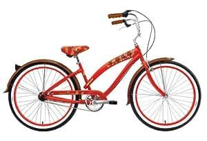 Nirve Island Flower Women's Single-Speed Cruiser Bike (26-Inch Wheels, Red)