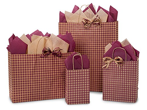 125 Burgundy Gingham Bag Assortment 25 Rose, 50 Cub, 25 Vogue, 25 Quee (Unit Pack - 125) by Better crafts