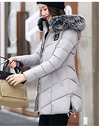Invierno Medio Yogly Abrigo Con Chaquetas De Abrigos Abajo Plumas Outewear largo Capucha Mujer Gris zZwqZtr