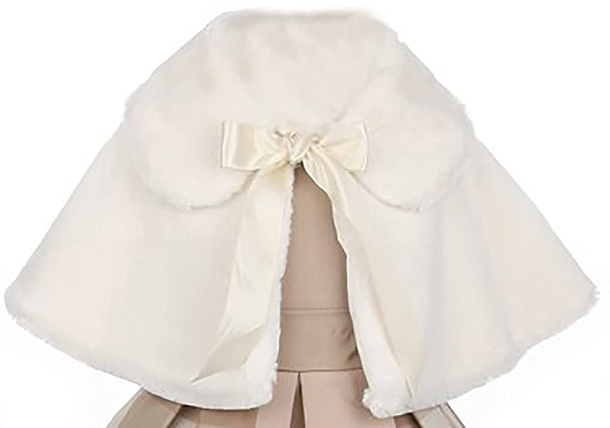 BNY Corner Faux Fur Satin Ribbon Collar Dress Cape Flower Girl Bolero Jacket