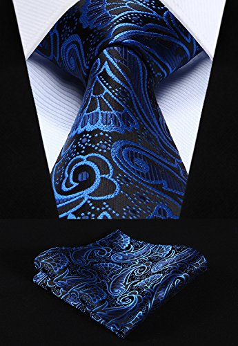 HISDERN Extra Long Floral Paislry Tie Handkerchief Men's Necktie & Pocket Square Set - http://coolthings.us