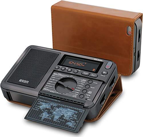 Eton Elite Traveler AM/FM/LW/Shortwave Radio with RDS & Custom Leather Carry Cover (Crank Ham Radio)