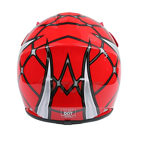 TCMT Dot Youth & Kids Motocross Offroad Street Helmet Red Spider Net Motocross Off-Road Helmet MX Goggles+Gloves S