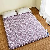 D&LE Tatami Floor mat, Thick Sleep Mattress Topper Foldable 6cm Cotton Mattress Pad Protectors Breathable Soft-Purple 90x200x6cm