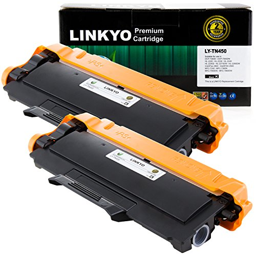 2-Pack LINKYO Compatible Replacement for Brother TN450 TN-450 TN420 High Yield Toner Cartridge (Black, High Yield) by LINKYO