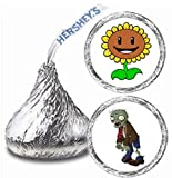 216 Plants Vs Zombies Hershey Kiss Stickers Labels Party Favors