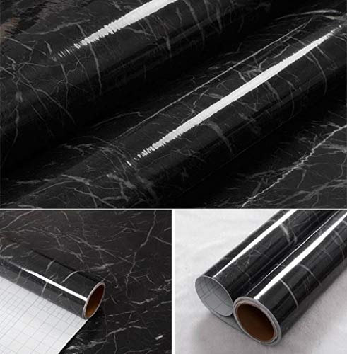 Adhesive Films Black Granite Marble High Gloss - Economical Alternative to rehabilitate Your countertops, backsplash and cabinets (11.8