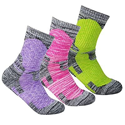 YUEDGE 3 Pairs Women's Antiskid Wicking Multi Performance Cushion Crew Socks Year Round