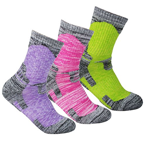 YUEDGE Women's 3Pack Multi Performance Outdoor Hiking Trekking Cushion Crew Socks, L(Women Shoe 7-10.5 US Size) Assortment 3Pack Purple/Red/Green