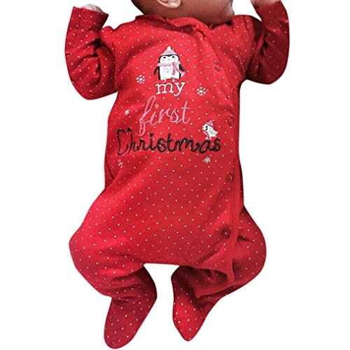 666b61c2a Janly Deer Clothes Sets for 0-18 Months Baby, Toddler Boys Girls My First  Christmas Jumpsuit Newborn Letter Dot Print Long Romper