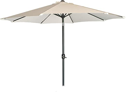 Parasol para jardín de Aluminio, Funda Protectora Color Gris incluida Mástil Central, Redondo 300 cm, Salida de Viento, Tela gramaje 200 gr Color Beige: Amazon.es: Jardín