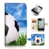 iPhone 4 4S Flip Wallet Case Cover & Screen Protector Bundle! A20149 Football Soccer