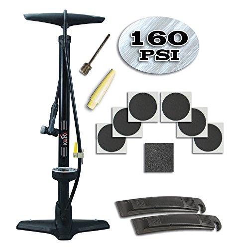 Bike Floor Pump By Kolo Sports - Bike Tire Repair Kit - Heavy Duty Steel Barrel With Wide (Battery Operated Mini Bike Pump)
