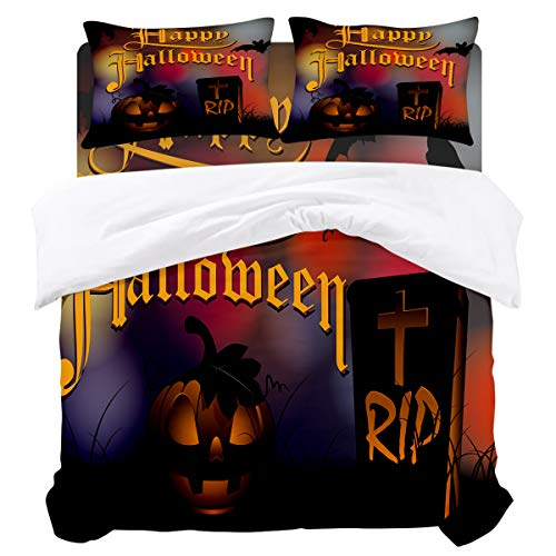BABE MAPS Duvet Cover Set Halloween Theme Pumpkin Lamp Ultra Soft Breathable Extremely Durable Twill Plush 4 Piece Bedding Sets for Childrens/Kids/Teens/Adults, Full Size -