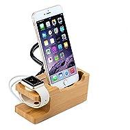 Ewolee Apple Watch Stand, Support de Chargeur 2 en 1, Station de Recharge en Bambou, Multi-Device Support Chargeur de Bureau Organisateur pour Apple iPhone Watch et 7/7s/6s Plus / 6s / 6 Plus / 6 / 5s / 5c / 5/4 / 4S et Plus de Smartphones.