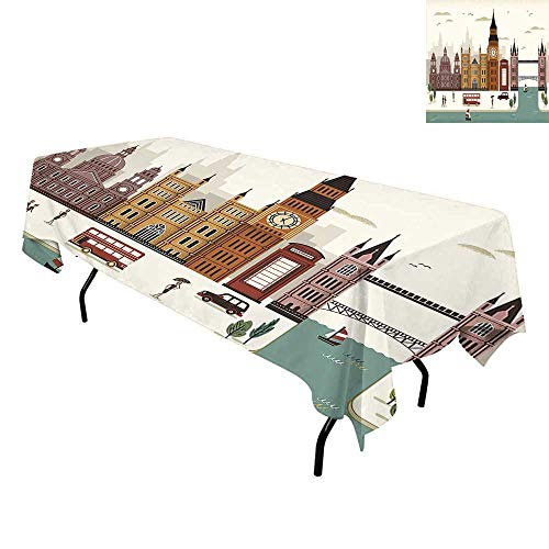 London,Waterproof Table Cover,Attractive Travel Scenery Famous City England Big Ben Telephone Booth Westminster,Tablecloths for Rectangle Tables,W60 x L120 Inch Multicolor