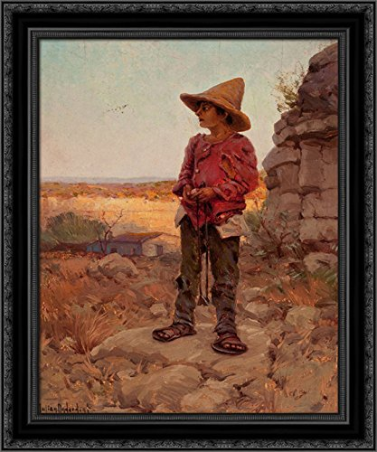 Goat Herder at the San Antonio Quarry 20x24 Black Ornate Wood Framed Canvas Art by Onderdonk, Robert - San Antonio Quarry