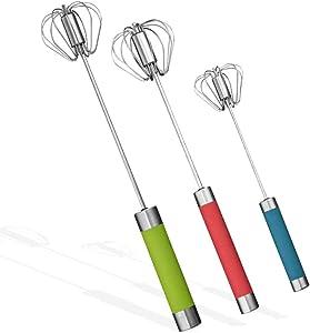 Stainless Steel Egg Whisk Whisk for Cooking - 3PCS Hand Push Rotary Whisk Blender for Home