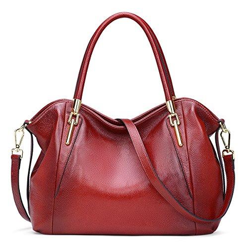 Image of AINIMOER Womens Leather Vintage Shoulder Bag Ladies Handbags Tote Top-handle Purse Cross Body Bags(Wine)