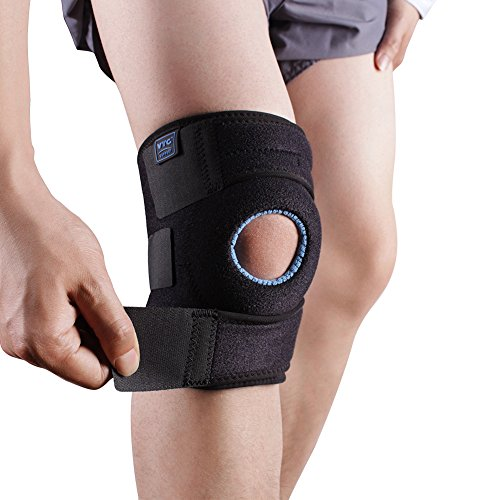VTG Adjustable Open Patella Knee Brace with Dual Side Stabilizers and EVA Pad for Running, Joint Pain Relief, Arthritis and Injury Recovery, One Size