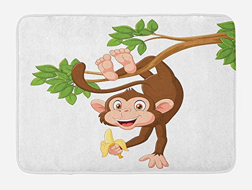 Cartoon Bath Mat, Funny Monkey Hanging from Tree and Holding Banana Jungle Animals Theme Print, Plush Bathroom Decor Mat with Non Slip Backing, Chocolate White (Chocolate Coral Tree)
