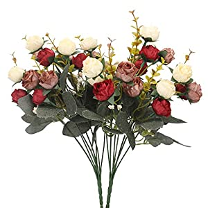 Duovlo 7 Branch 21 Heads Artificial Flowers Bouquet Mini Rose Wedding Home Office Decor,Pack of 2 (2 PCS Red) 40